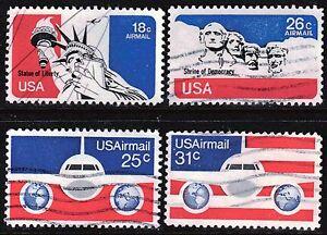 Scott C87-C90 Used Airmail, 1974-76 Regular Issue Stamps