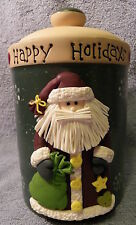 Happy Holidays Santa Canister Snowflakes on Green 8""