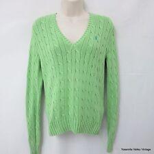 Ralph Lauren Sweater Womens Sport Lime Green Cable 100% Cotton Medium
