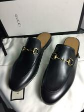GUCCI 39 AUTHENTIC SHOES WOMAN PRINCETOWN LEATHER SLIPPER  MULES FLATS US 9 US