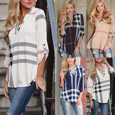 Women Ladies Casual Loose 3/4 Sleeve Plaid Check T-Shirt Tops Blouse Shirts Top