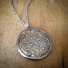 Antique Bronze Round SILVER Picture Locket Necklace - Engraved Pendant & Chain