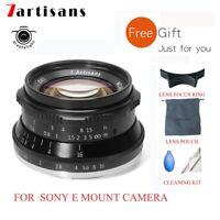 7artisans 35mm F1.2 Manual Focus Fixed Prime Lens for Sony E Mount Camera + Gift