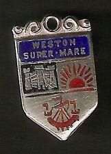 Weston Super-Mare-Vintage Plata Esmalte Escudo encanto.