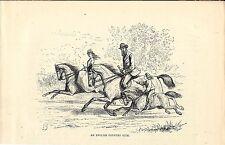 Stampa antica originale FAMIGLIA INGLESE a CAVALLO 1875 Old antique Print Horses