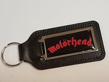 Motorhead escritura Rojo y Negro Cuero Llavero Con Pegatina de cúpula de fondo
