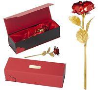 Rot Goldene Gold echte Ewige Liebe Rose mit GRAVUR Valentinstag LUXUS Geschenk