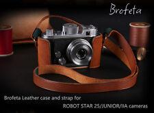 Brofeta leather case/bag and strap for Robot Star 25, Junior, Iia, Ii cameras