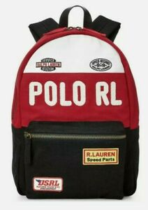 New $225 Polo Ralph Lauren Men's Racing Canvas Backpack with Leather Trim