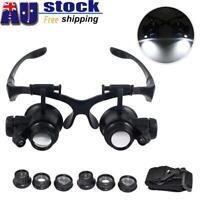 AU LED Lamp Headset Headband Magnifying Glass Head Light Jeweler Magnifier Loupe