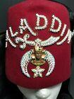 Masonic Aladdin Shriner Fez Hat Jeweled Rhinestones Tassel Pins Burgandy Medium