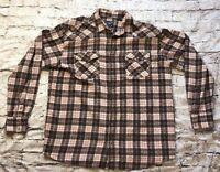 Roper Men's Western Plaid Long Sleeve Pearl Snap Shirt Size XL