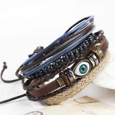 Fashion Jewelry Mens Turkey Evil Eye Style Leather Bracelet Wrist Band Bangle Us