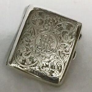 1919 Solid Birmingham Silver Cigarette Case, Chased Scroll Work. Monogram 88.57g