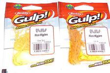 Berkley Gulp Micro Wiggler Panfish Baits (Lot of 2-Natural/Clear Gold-150/pack)