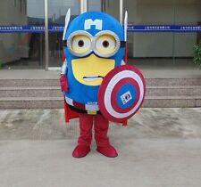 minion x captain america Cartoon Fancy Dress Mascot Costume Adult Suit Express