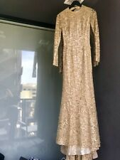 Carolina Herrera Evening Gown Gold Scoop Neck I Was Told Rene Zelwiger Wore It