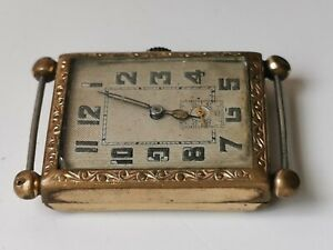 MENS ANTIQUE HINGED CASED GOLD TONE MANUAL WIND WORKING WATCH FOR SPARES REPAIRS