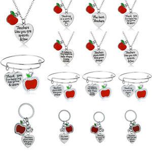 Red Apple Necklace Pendant Jewelry Keyring Bracelet Bangle Thanks Teacher Gift