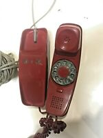 RED TRIMLINE Rotary Dial Telephone Western Electric Bell System 1960s model AD3