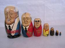 Vintage Russian Leaders Matryoska Nesting Dolls 7 Peice Set-Yeltsin-Romonov