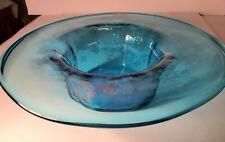 """Vintage Beautiful Blenko Art Glass 14"""" Centerpiece Bowl"""
