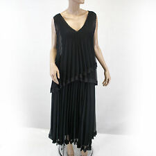 NEW NWT Komarov Woman Nordstrom Plus Size Layered Pleated Little Black Dress 1X