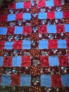 "Biker Betty Boop Rag Quilt,  lap/twin blanket  48"" x 62"""