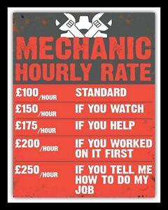 CAR MOTOR MECHANIC HOURLY RATE GARAGE PRICE LIST WORKSHOP METAL PLAQUE SIGN 1078