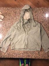 Vtg WWII U.S NAVY USN Olive Waterproof Pullover Hood Parka Deck Rain Jacket Sz-S