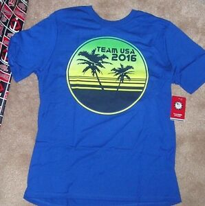 NEW TEAM USA 2016 Olympics T Shirt Youth Boys L Large 14 16 Blue NEW NWT