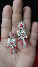 Silver Filigree Earrings with red coral