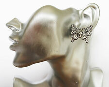 Beautiful Butterfly Crystal Stud Earrings 3 cms Drop in Silver Tone