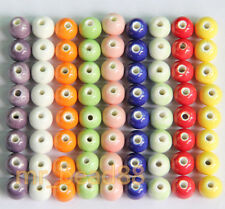 10/20pcs Round Ceramic Porcelain Candy Color Pattern Charms Loose Beads 8mm