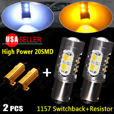 2X High Power 5730 1157 Dual Color Switchback LED Turn Signal Light+Resistors