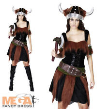 Sexy Viking Warrior Lady Fancy Dress Medieval Costume Ladies Outfit UK 10 12 14