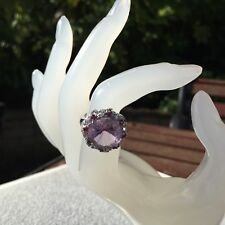 'Galaxia' Pink Amethyst, Rhodolite Garnet & White Topaz 925 Sterling Silver Ring