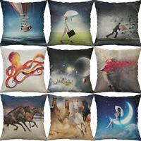 "18"" illustrations Cotton Linen Sofa Home Decor pillow case Cushion Cover"
