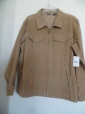 NWT Northcrest Corduroy Jacket  Tan Brown North Crest Zip Up Solid Cotton L