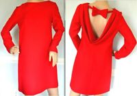 Valentino Bow Cowl Back Red Wool Crepe Christmas Cocktail Dress IT 40 / US 4