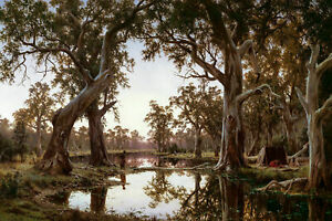 H J. Johnstone, Evening Shadows, Backwater of the Murray 59x40cm, Canvas