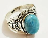 Larimar Solid 925 Sterling Silver Anxiety Ring Meditation Ring SR077717