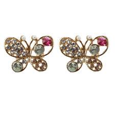 T8 Multicolour Rhinestone Butterfly Retro Ear Studs Earrings 1 Pair J