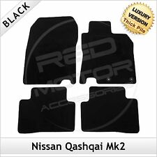 NISSAN QASHQAI Mk2 2014 onwards Tailored Carpet LUXURY 1300g Car Mats BLACK