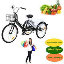 "Ridgeyard 7 Speed 24"" 3-Wheel Adult Tricycle Cruiser  Bicycle Basket Black 2020"