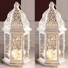 "2 Large Distressed Lantern White Candle Holder Wedding Centerpieces 16"" Tall"
