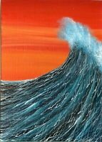 ACEO Original Painting Acrylic Seascape Miniature Ocean Nautical Waves Art HYMES