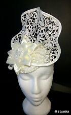 NEW! Cream Ivory Guipure Lace Floral Fascinator Hat Designer Melbourne Cup Races