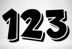 3 x Race Numbers Vinyl Stickers Decals Dirt Bike Motocross Trials Kart - S5