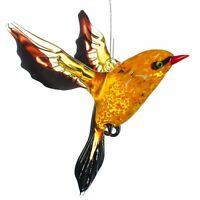 "Glass Bird Figurine / Handmade Hand Blown Art Glass Bird Animal / Pendant 4"""